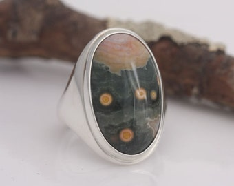 Ocean jasper and sterling silver ring, size 7, #626.
