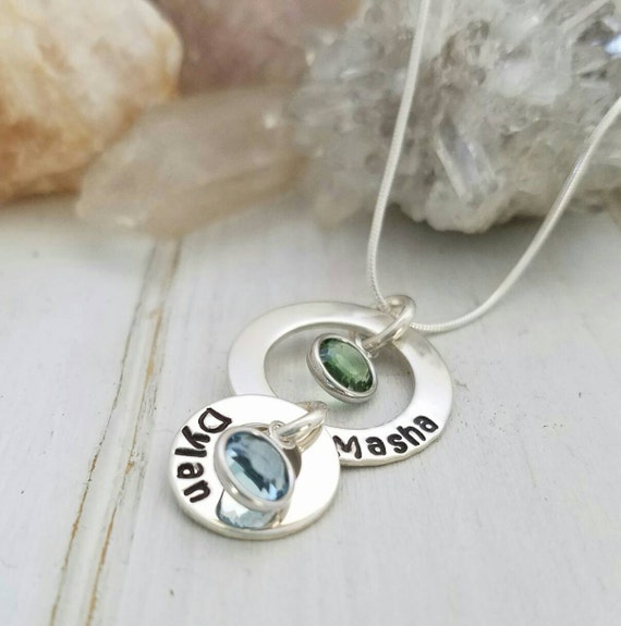 Personalized Mother Necklace, Sterling Silver name necklace, Nana Necklace, Birthstone Jewelry, Custom Grandmother Necklace, Mommy Jewelry