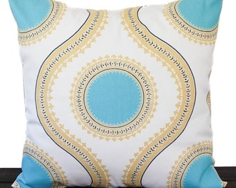 Throw pillow cover Coastal Blue Saffron Yellow white cushion cover traditional contemporary modern home decor Susette Medalion