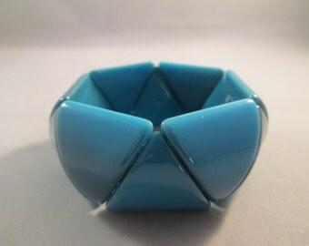 SALE Blue Lucite Stretch Cuff Bracelet