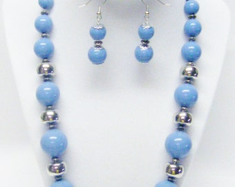 Round Light Blue & Silver Graduated Acrylic Bead Necklace/Bracelet/Earrings Set