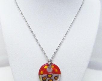 Orange w/Silver Round Fused Glass Pendant Necklace