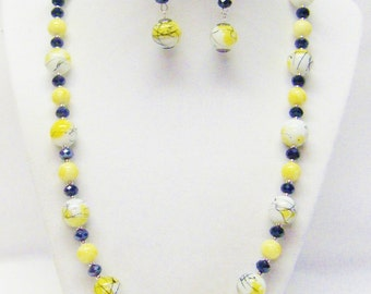 Yellow/White /Black Spatter w/Round Yellow Glass Bead Necklace & Earrings Set