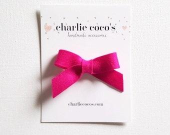 "SALE Baby / Girls Felt Bow Headband OR Hair Clip ""Fuchsia"" -Premium Wool Felt Bow by charlie coco's"