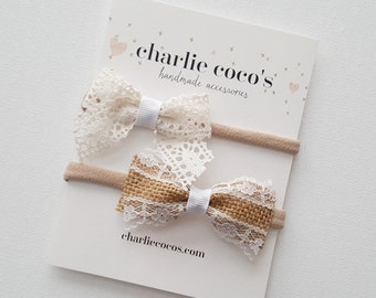 "Baby / Girls Bow Headband Set // Hair Clip Set // Baby Bow Gift Set by Charlie Coco's ""Dixie"""
