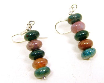 Fancy Jasper Earrings, Green Jasper Earrings, Gemstone Jewelry, Stone Earrings, Pink and Brown, Nature Earrings, Natural Stones