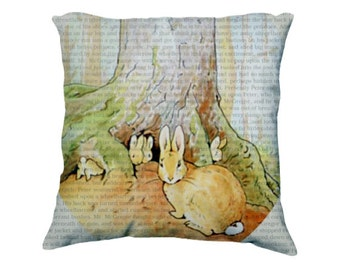 Peter Rabbit, Beatrix Potter Quote, Vintage Illustration, Nursery Decor, Nursery Pillow, Bookish Pillow, Library Decor, Teacher Gifts