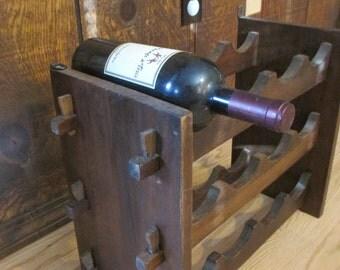 Walnut 12 Bottle Wine Rack