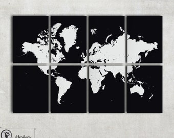 Huge World Map, Modern Wall decor on 8 panel canvas - personalized design and colors ready to hang - home decor, interior