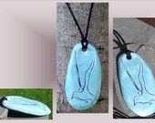 Men's Seagull Necklace, Sea Bird Jewelery, Turquoise Stone Pendant, Pottery Bird Amulet, Ocean Sea Beach Jewelry, Abstract Bird, Clay Bird