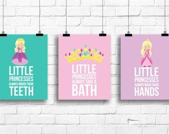 Little princesses bathroom rules, kids bathroom prints, girl bathroom decor, princesses nursery decor, shower gift, kids art, girl wall art