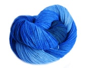 Yarn, Sock yarn, Hand painted handdyed  Yarn Fingering in different blue colors with little teal hand dyed,