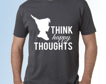 MENS * Peter Pan * Think Happy Thoughts * Dark Grey * Classic Cotton Crew Neck Short Sleeve Shirt