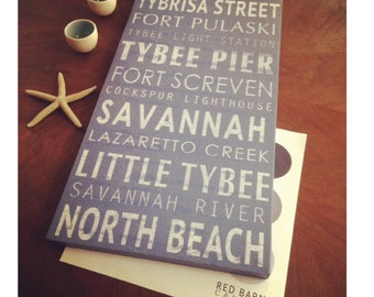 Favorite Vacation Destinations on canvas, vintage style transit sign