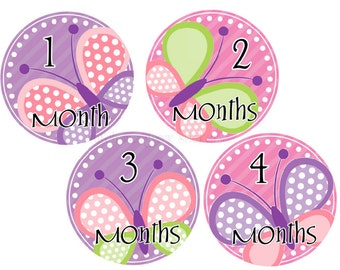 Baby Monthly Stickers Monthly Baby Stickers Milestone Stickers Baby Girl Stickers Butterfly Month Stickers