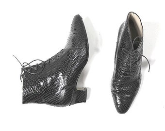us7 LACE UP  ankle booties  black  snake patent  leather made in france