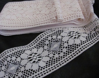 """Lace Beautiful Vintage Wide Ivory Lace  - 3.75"""" Inches 9.5cm Wide - 2 Yard Length #08P"""