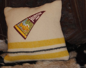 Vintage Yellowstone Pennant Pillow