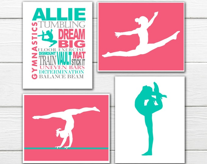Gymnast Wall Art  Print  Set - 4 Custom Prints  - Personalized Gymnast Wall Art GYMNASTICS DECOR