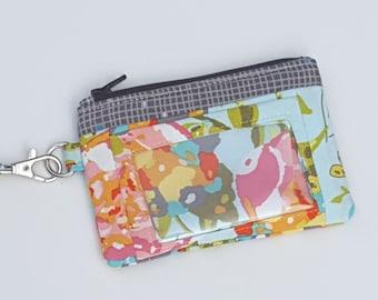 Zippered Wristlet, ID Pocket Wristlet, Aqua and Grey Wristlet, Floral Wristlet, Art Gallery Wristlet