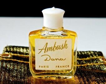 Vintage AMBUSH by Dana Perfume 5 ml (.17 oz) Full Unused White Sailor Cap Top Early 50s Bottle Gift Bag