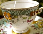 Tuscan Fine Bone China Tea Cup and Saucer, Multi Color Floral and Gold Motif, Gold Gilt, England