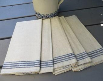 Free Shipping Worldwide Five (  5 ) German  Linen Towels  Blue Stripes    Napkins  Cloths   Wraps  Bath Cloths Torchons Monogram ER