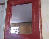 Handmade Rustic Wood Mirror (Burgundy)