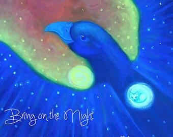 Bring on the Night - bird, night, cat, moon, sunset