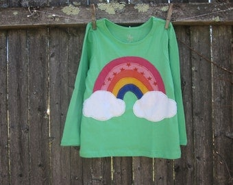 St Patricks Day Paint Me A Rainbow Kids T shirt with Clouds