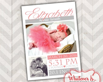 Coral and Grey Block Birth Announcement