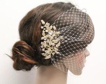 Gold Rhinestone Birdcage veil,Ivory Wedding veil,Birdcage Fascinator,Wedding hair accessories birdcage veil.Bridal headpiece veil.Wedding