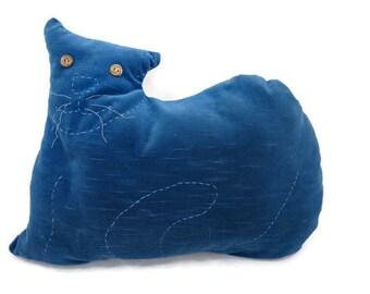 Vintage Cat Pillow - Velvet Cat Pillow - Primitive Cat - Blue Cat Pillow - Nursery Decor - Cat Lovers Pillow - Free Shipping - 4HTT16