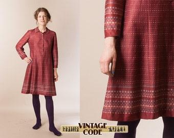 Wine red long sleeve shirt dress /   70s casual day dress / Novelty dress / Finnish vintage dress /  size medium large