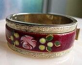 Rose Flower Bracelet, Enameled Hinged Floral Cuff, Valentine Rose, Painted Cuff Bracelet