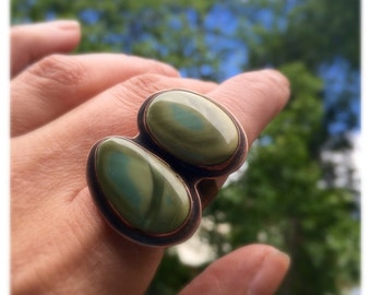 Royal Imperial Jasper Ring Green Gemstone Cocktail Statement Mineral Stone Metalsmith Copper Rustic Jewelry Multistone Two Stones Wide Band