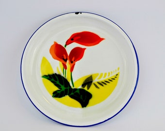 Enamelware Plate White With Blue Rim Orange Calla Lilies Yellow Accent