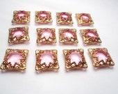 12 pcs. - Filigree acrylic Rose Rhinestone findings with 4 loops - m23