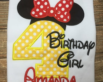 Girls minnie mouse birthday shirt
