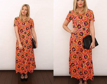 Vintage 70s Neon Floral Hippe Psychedelic Print Festival Maxi Dress. UK 12.