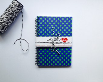 Blue Journal with Green Polka Dots A6 notebook Spiral Bound with Card stock cover handmade diary sketch book spiral bound diary