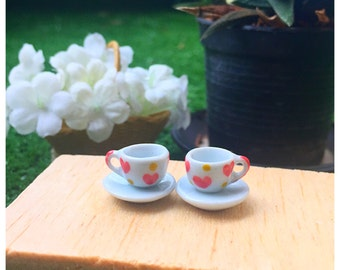 "Rement : ""Coffee Set"" (2 Cups and 2 saucers made from ceramic)"