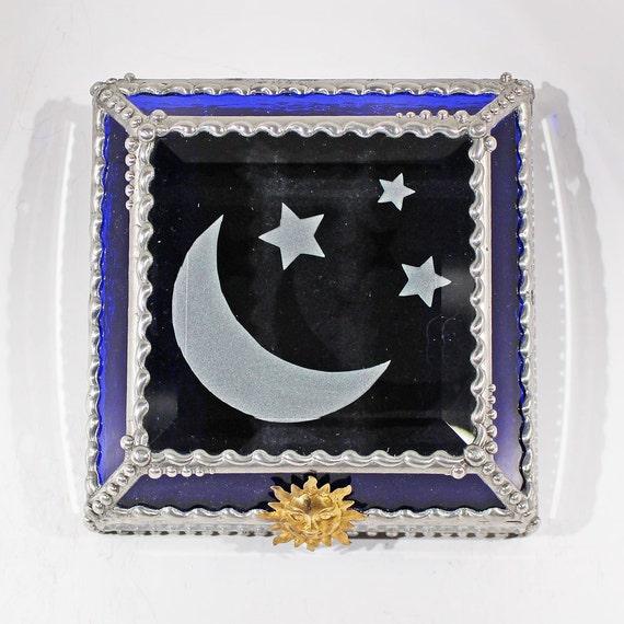 Etched, Moon, Stars, Moon & Stars, treasure Box, Display, Box, Stained Glass, Memorabilia, Souvenir,
