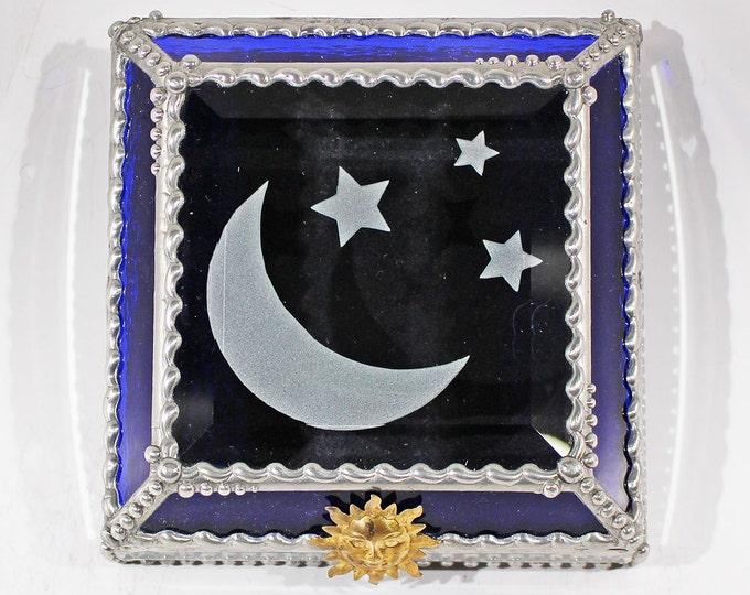 Etched, Moon, Stars, Moon & Stars, treasure Box, Display, Box, Stained Glass, Memorabilia, Souvenir,