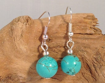 TURQUOISE Round 10mm Dyed Natural Stone EARRINGS on Nickelfree Hooks