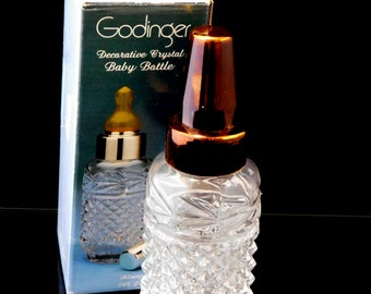Godinger Crystal Baby Bottle, Copper Top, Crystal Baby Bottle