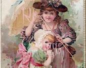 "Digital Download  Victorian Trade Card  ""Victorian Children"" Scrap Graphic Image"