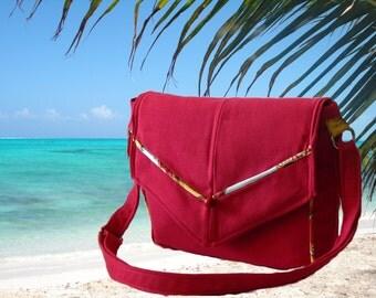 Red Canvas Messenger Bag, Fabric Handbag, Gift for Her, Adjustable Strap, Cross body Bag, Fabric Purse, Valentine Gift