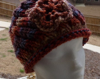 War Eagle Hat, Fall Colored Hat, Ladies Brown Hat, Hat with Flower, Free Shipping