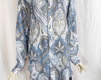 vintage ETRO mens upcycled paisley linen shirt/ blue+taupe grey tones/fitted boyfriend style:Eu 40 = US woman Medium/ US men small